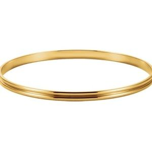 Jewelry - 14K Yellow Gold 4mm Groove Bangle Bracelet